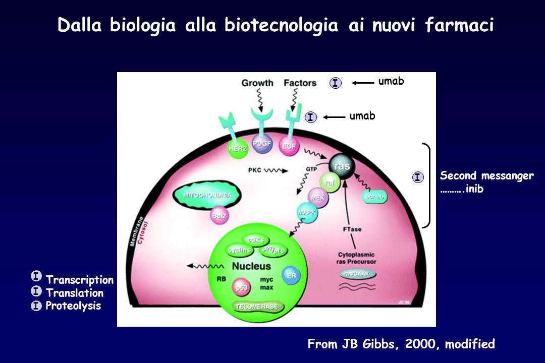 Dalla biologia alla biotecnologia ai nuovi farmaci From JB Gibbs, 2000, modified umab Second messanger ……….inib Transcription Translation Proteolysis