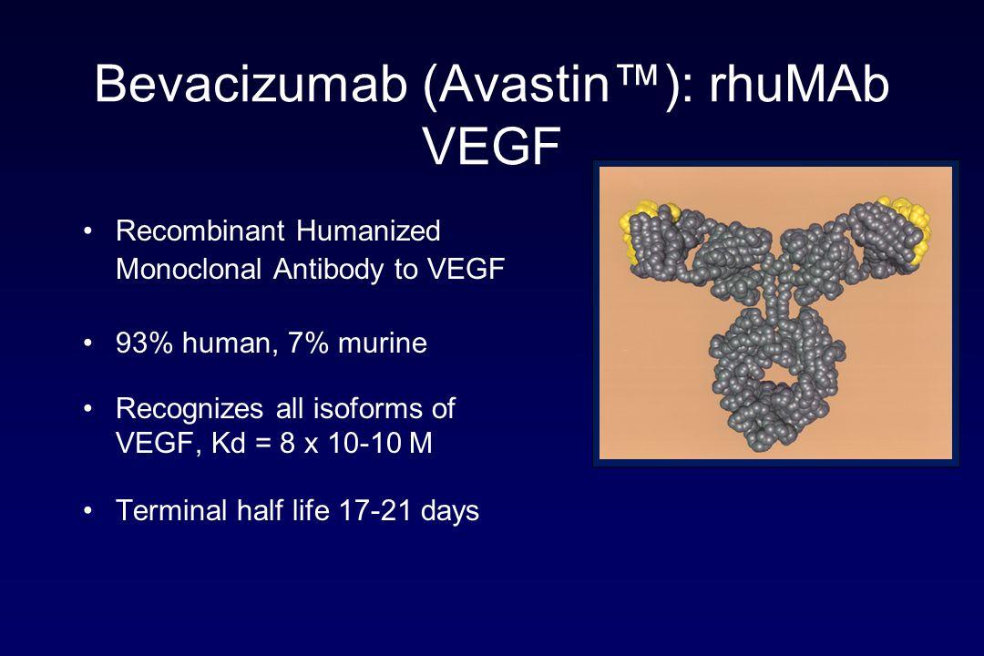 Bevacizumab (Avastin): rhuMAb VEGF Recombinant Humanized Monoclonal Antibody to VEGF 93% human, 7% murine Recognizes all isoforms of VEGF, Kd = 8 x 10