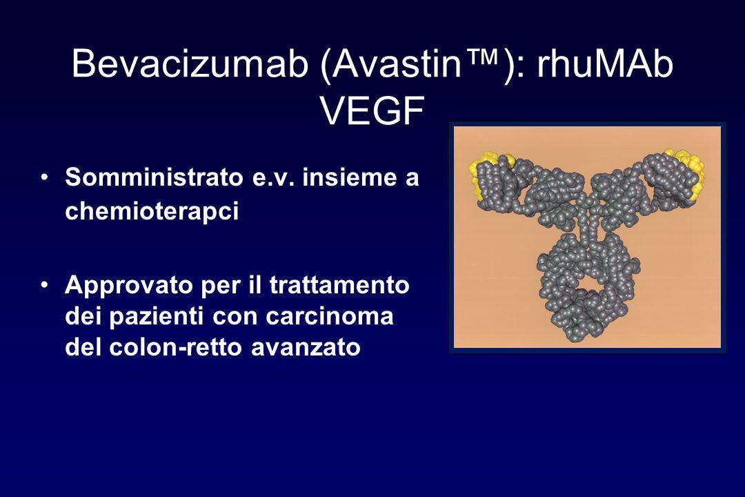 Bevacizumab (Avastin): rhuMAb VEGF Somministrato e.v. insieme a chemioterapci Approvato per il trattamento dei pazienti con carcinoma del colon-retto