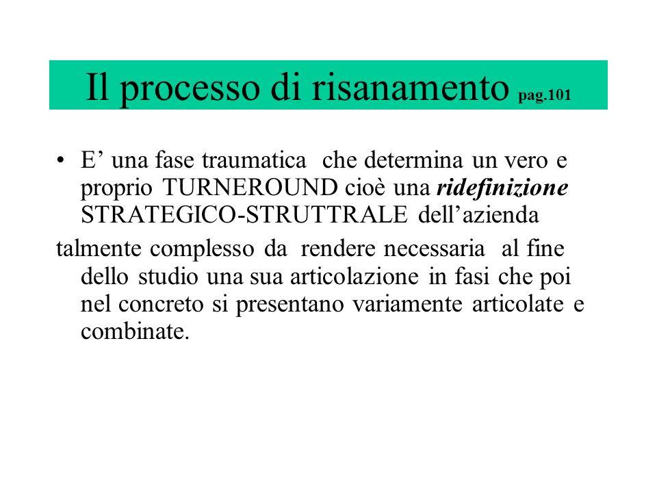 Il processo di risanamento pag.101 E una fase traumatica che determina un vero e proprio TURNEROUND cioè una ridefinizione STRATEGICO-STRUTTRALE della