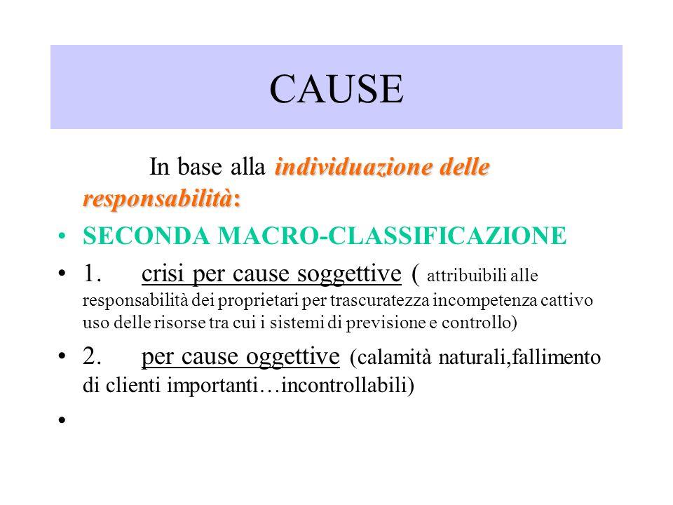 CAUSE individuazione delle responsabilità: In base alla individuazione delle responsabilità: SECONDA MACRO-CLASSIFICAZIONE 1. crisi per cause soggetti