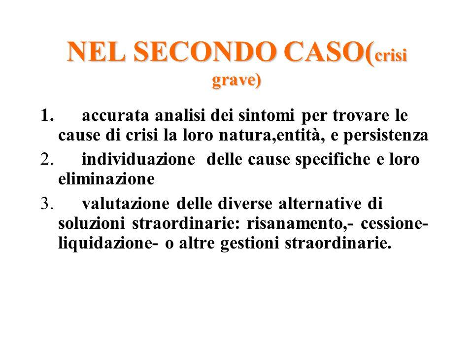 NEL SECONDO CASO( crisi grave) 1. accurata analisi dei sintomi per trovare le cause di crisi la loro natura,entità, e persistenza 2. individuazione de