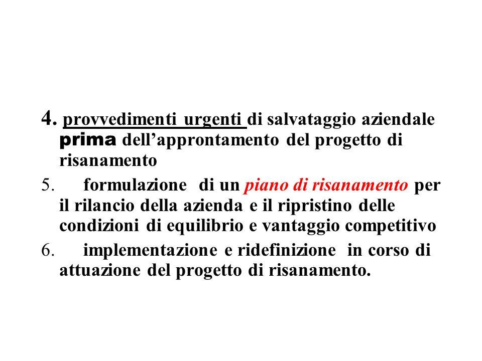 4. provvedimenti urgenti di salvataggio aziendale prima dellapprontamento del progetto di risanamento 5. formulazione di un piano di risanamento per i