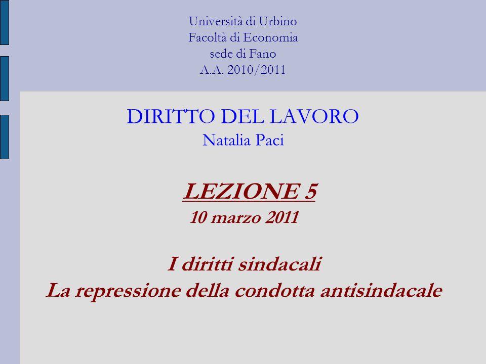 Università di Urbino Facoltà di Economia sede di Fano A.A. 2010/2011 DIRITTO DEL LAVORO Natalia Paci LEZIONE 5 10 marzo 2011 I diritti sindacali La re