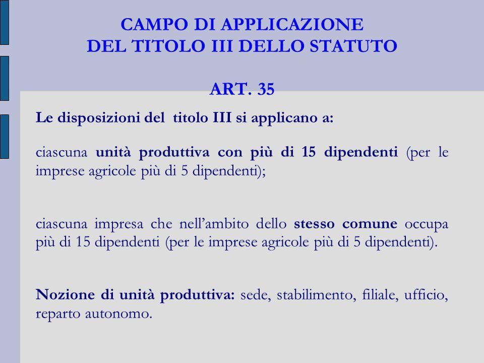 CAMPO DI APPLICAZIONE DEL TITOLO III DELLO STATUTO ART. 35 Le disposizioni del titolo III si applicano a: ciascuna unità produttiva con più di 15 dipe