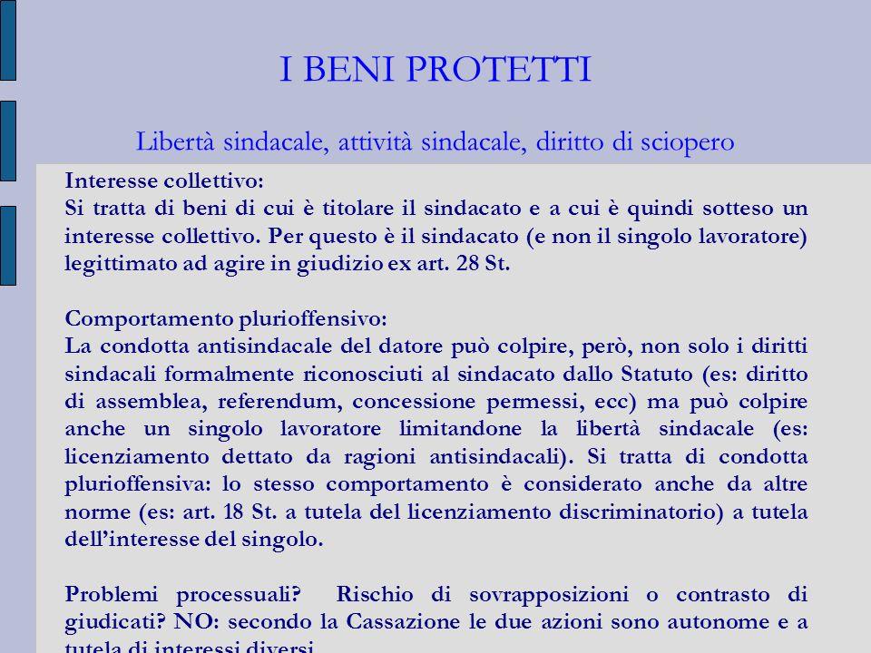 I BENI PROTETTI Libertà sindacale, attività sindacale, diritto di sciopero Interesse collettivo: Si tratta di beni di cui è titolare il sindacato e a