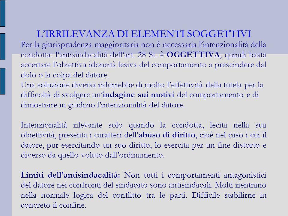 LIRRILEVANZA DI ELEMENTI SOGGETTIVI Per la giurisprudenza maggioritaria non è necessaria lintenzionalità della condotta: lantisindacalità dellart. 28