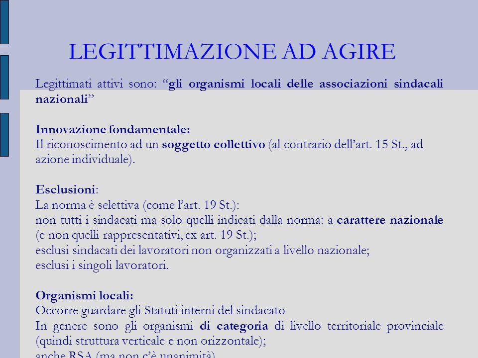 LEGITTIMAZIONE AD AGIRE Legittimati attivi sono: gli organismi locali delle associazioni sindacali nazionali Innovazione fondamentale: Il riconoscimen
