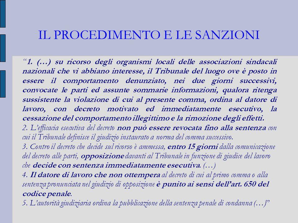 IL PROCEDIMENTO E LE SANZIONI 1. (…) su ricorso degli organismi locali delle associazioni sindacali nazionali che vi abbiano interesse, il Tribunale d