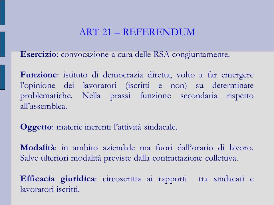 ART 21 – REFERENDUM Esercizio: convocazione a cura delle RSA congiuntamente. Funzione: istituto di democrazia diretta, volto a far emergere lopinione
