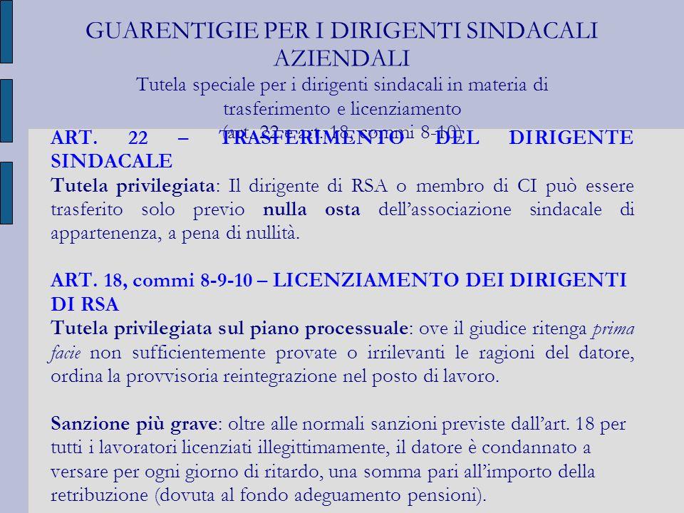 GUARENTIGIE PER I DIRIGENTI SINDACALI AZIENDALI Tutela speciale per i dirigenti sindacali in materia di trasferimento e licenziamento (art. 22 e art.