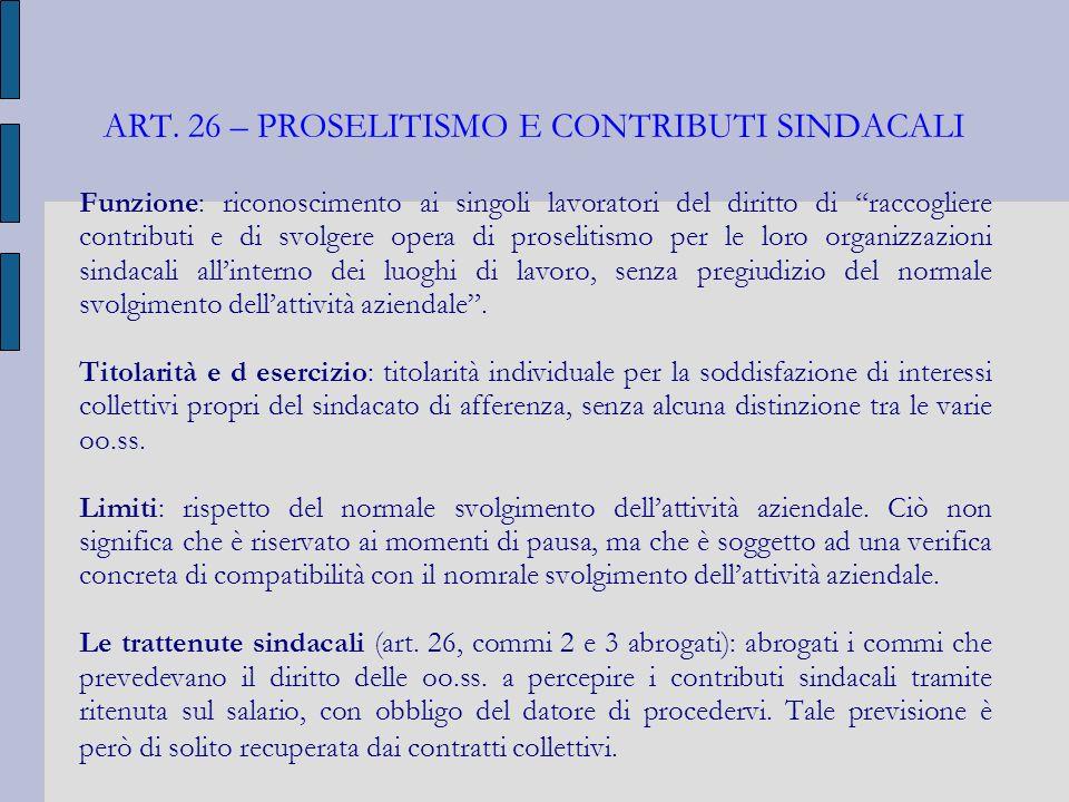 ART. 26 – PROSELITISMO E CONTRIBUTI SINDACALI Funzione: riconoscimento ai singoli lavoratori del diritto di raccogliere contributi e di svolgere opera