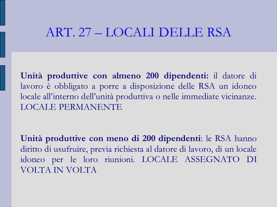 ART. 27 – LOCALI DELLE RSA Unità produttive con almeno 200 dipendenti: il datore di lavoro è obbligato a porre a disposizione delle RSA un idoneo loca