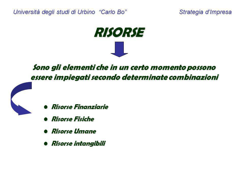 Università degli studi di Urbino Carlo Bo Strategia dImpresa RISORSE Sono gli elementi che in un certo momento possono essere impiegati secondo determ