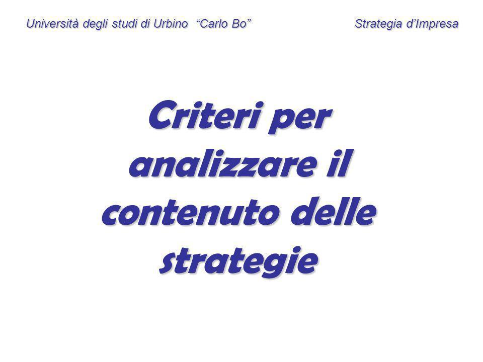 Università degli studi di Urbino Carlo Bo Strategia dImpresa Criteri per analizzare il contenuto delle strategie
