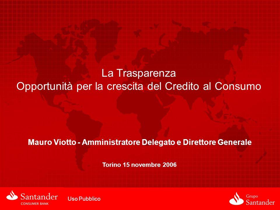 La Trasparenza Opportunità per la crescita del Credito al Consumo Uso Pubblico Mauro Viotto - Amministratore Delegato e Direttore Generale Torino 15 n