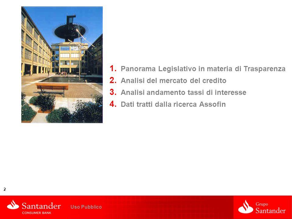 La Trasparenza: opportunità per la crescita del credito al consumo 2 Uso Pubblico 1. Panorama Legislativo in materia di Trasparenza 2. Analisi del mer