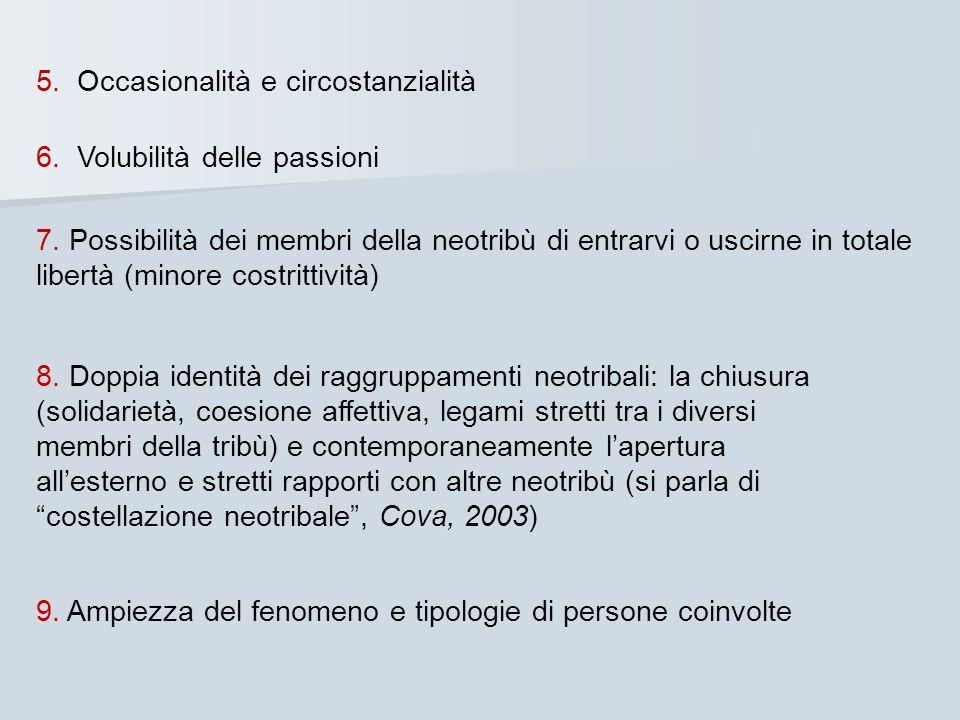 5. Occasionalità e circostanzialità 6. Volubilità delle passioni 7. Possibilità dei membri della neotribù di entrarvi o uscirne in totale libertà (min