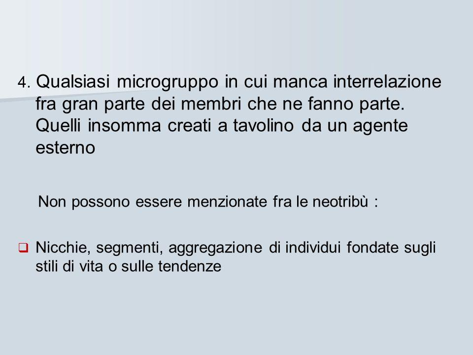 4. 4. Qualsiasi microgruppo in cui manca interrelazione fra gran parte dei membri che ne fanno parte. Quelli insomma creati a tavolino da un agente es