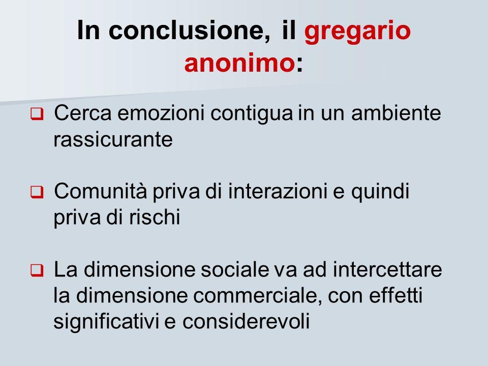 In conclusione, il gregario anonimo: Cerca emozioni contigua in un ambiente rassicurante Comunità priva di interazioni e quindi priva di rischi La dim