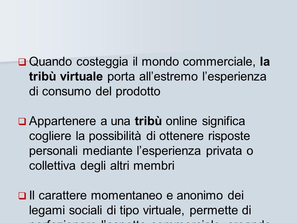 Quando costeggia il mondo commerciale, la tribù virtuale porta allestremo lesperienza di consumo del prodotto Appartenere a una tribù online significa
