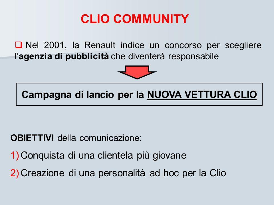 CLIO COMMUNITY Nel 2001, la Renault indice un concorso per scegliere lagenzia di pubblicità che diventerà responsabile Campagna di lancio per la NUOVA