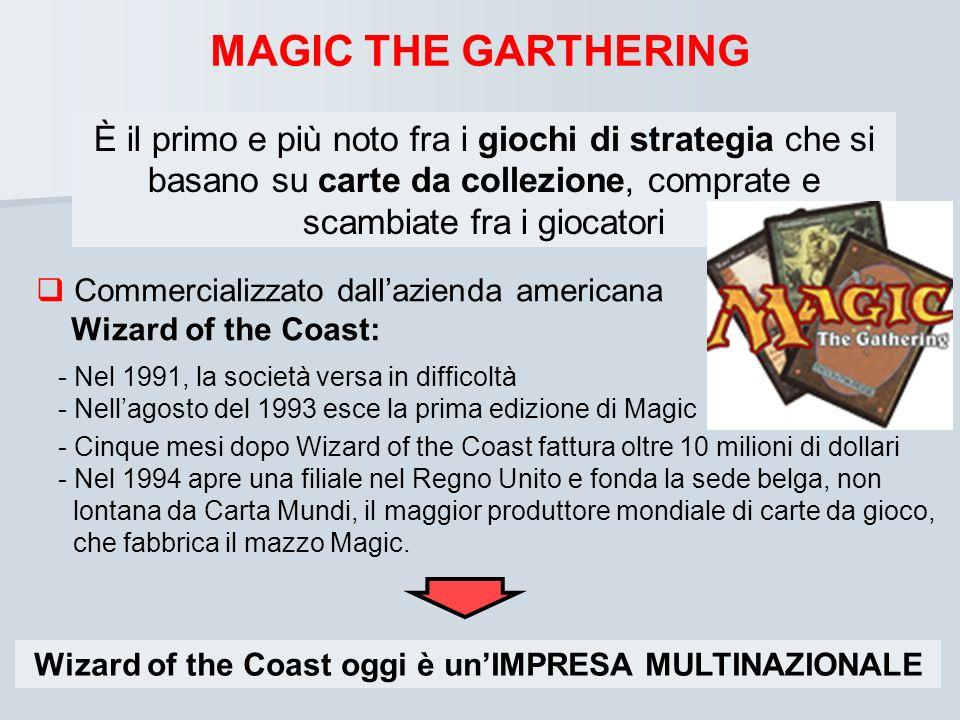 MAGIC THE GARTHERING Commercializzato dallazienda americana Wizard of the Coast: - Nel 1991, la società versa in difficoltà - Nellagosto del 1993 esce