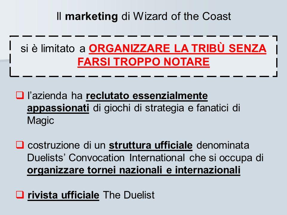 Il marketing di Wizard of the Coast si è limitato a ORGANIZZARE LA TRIBÙ SENZA FARSI TROPPO NOTARE lazienda ha reclutato essenzialmente appassionati d