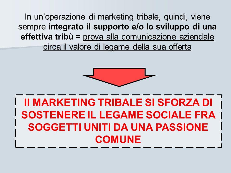 In unoperazione di marketing tribale, quindi, viene sempre integrato il supporto e/o lo sviluppo di una effettiva tribù = prova alla comunicazione azi
