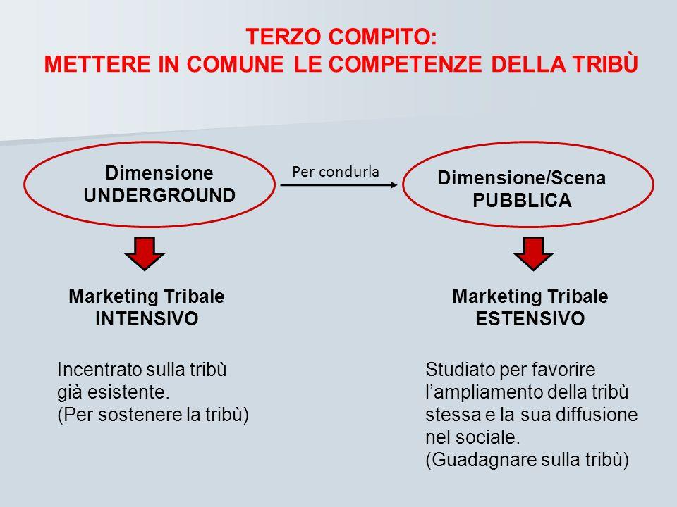 TERZO COMPITO: METTERE IN COMUNE LE COMPETENZE DELLA TRIBÙ Dimensione UNDERGROUND Dimensione/Scena PUBBLICA Per condurla Marketing Tribale INTENSIVO M