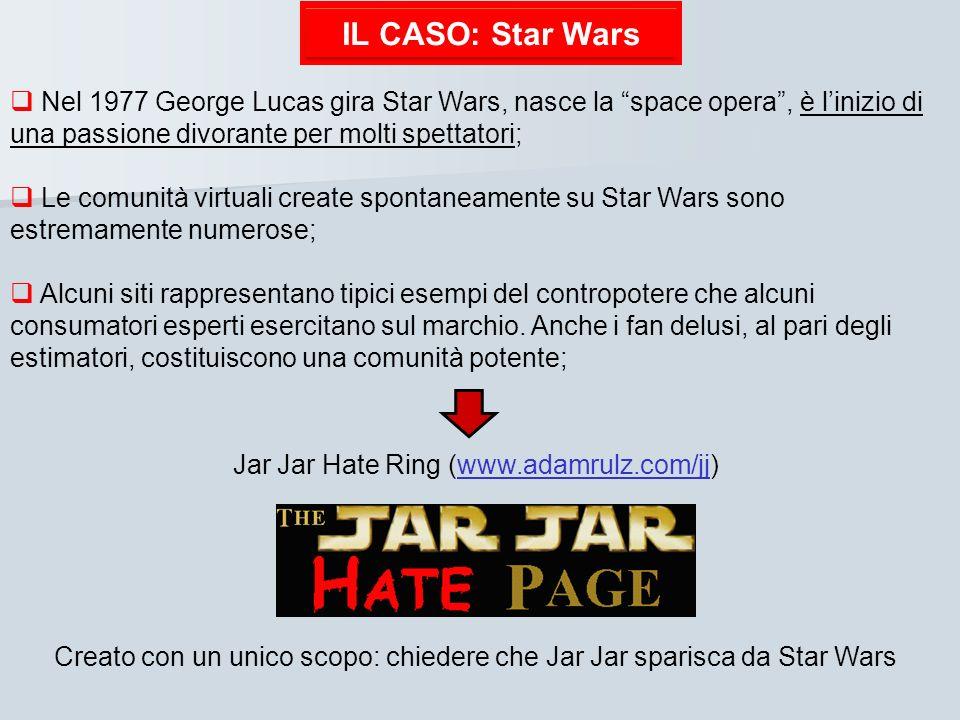 IL CASO: Star Wars Nel 1977 George Lucas gira Star Wars, nasce la space opera, è linizio di una passione divorante per molti spettatori; Le comunità v
