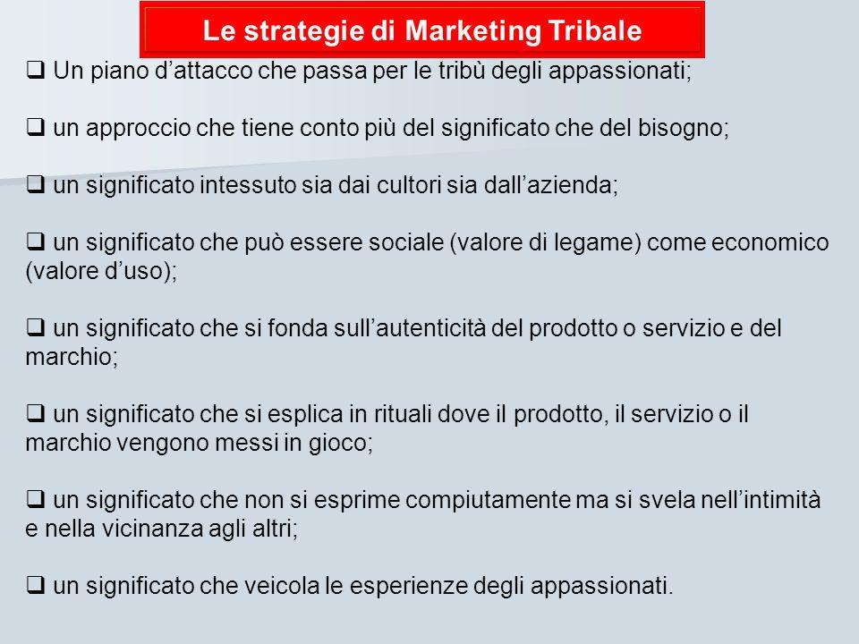 Le strategie di Marketing Tribale Un piano dattacco che passa per le tribù degli appassionati; un approccio che tiene conto più del significato che de