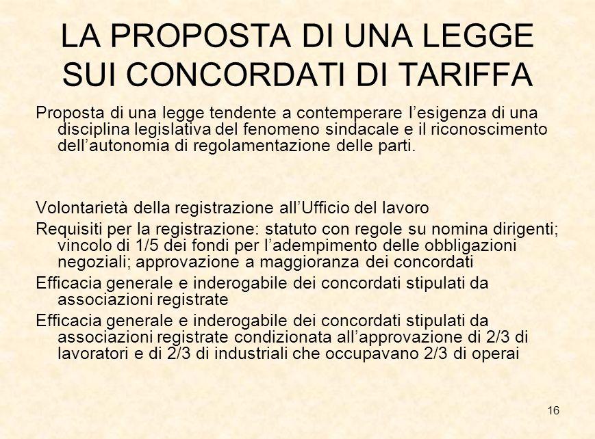 16 LA PROPOSTA DI UNA LEGGE SUI CONCORDATI DI TARIFFA Proposta di una legge tendente a contemperare lesigenza di una disciplina legislativa del fenome