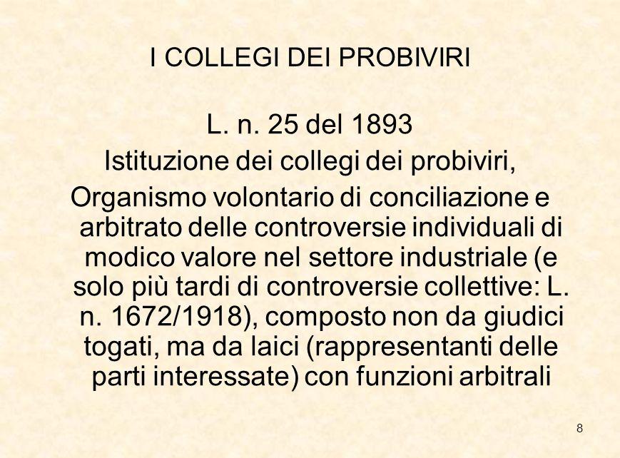 9 LORIGINE EXTRALEGISLATIVA DEL DIRITTO SINDACALE Listituzione dei collegi dei probiviri: primo riconoscimento indiretto del conflitto industriale da parte statuale.