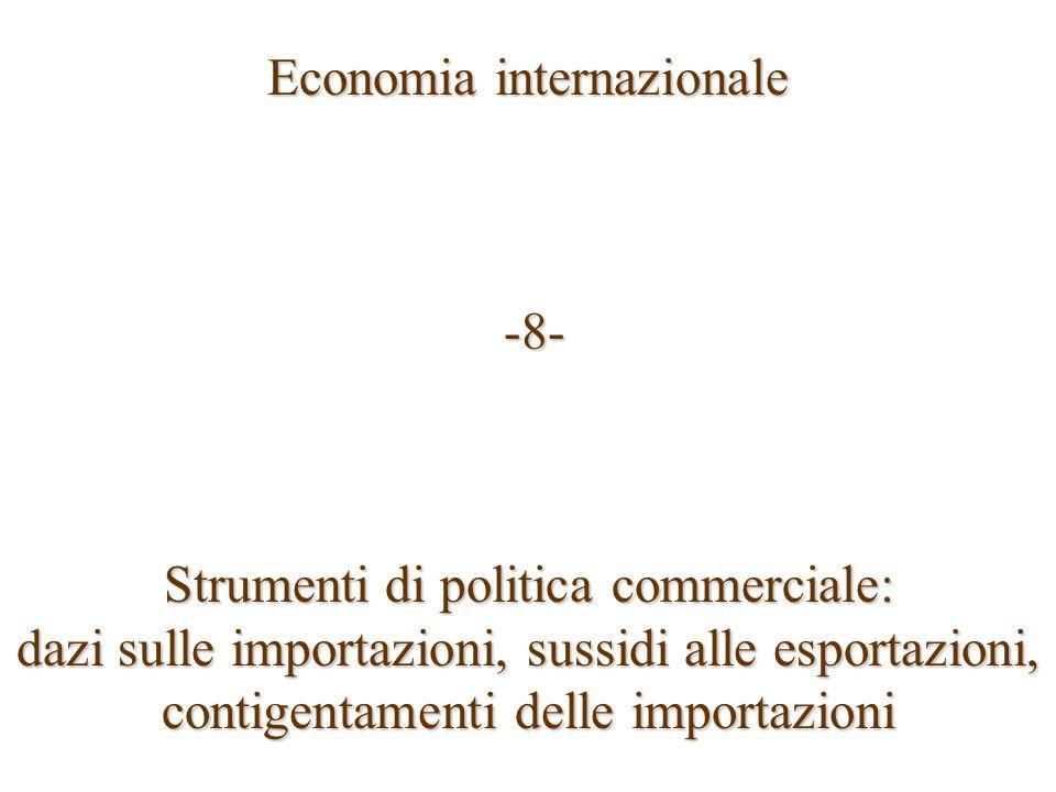 Economia internazionale -8- -8- Strumenti di politica commerciale: dazi sulle importazioni, sussidi alle esportazioni, contigentamenti delle importazi