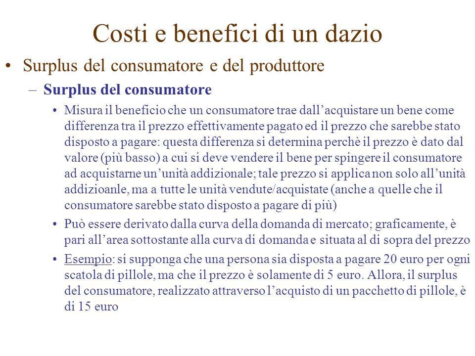 Surplus del consumatore e del produttore –Surplus del consumatore Misura il beneficio che un consumatore trae dallacquistare un bene come differenza t