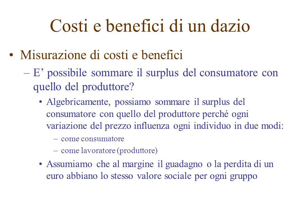Costi e benefici di un dazio Misurazione di costi e benefici –E possibile sommare il surplus del consumatore con quello del produttore? Algebricamente