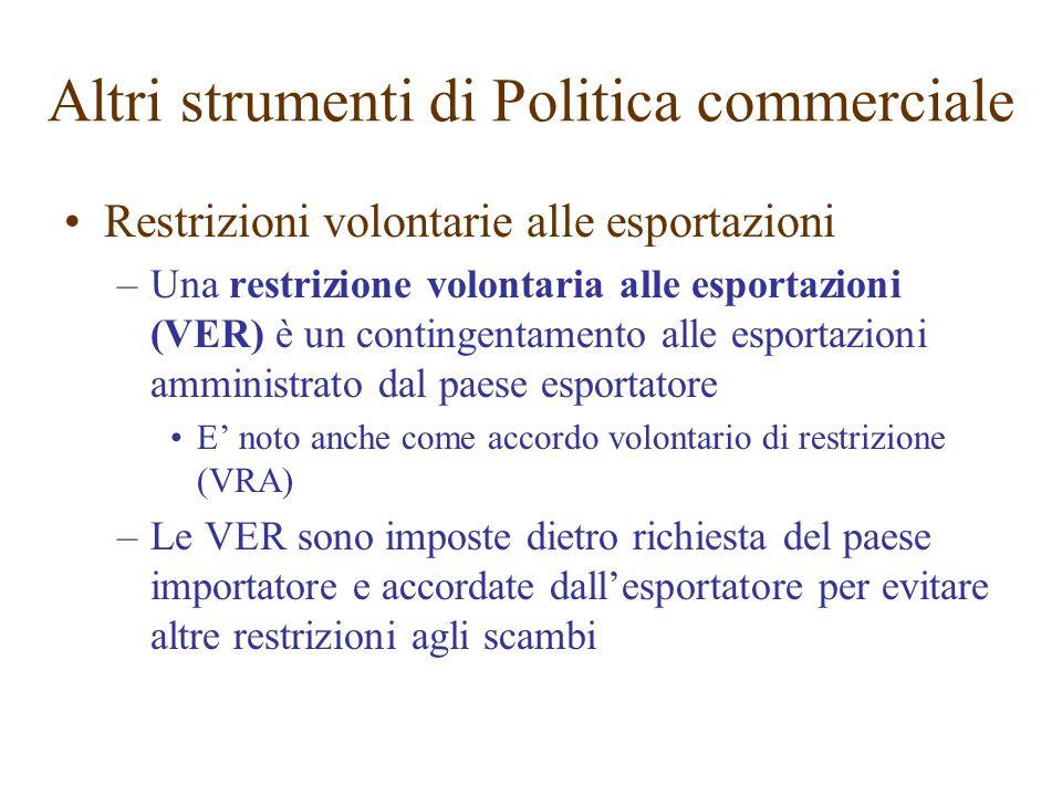 Restrizioni volontarie alle esportazioni –Una restrizione volontaria alle esportazioni (VER) è un contingentamento alle esportazioni amministrato dal