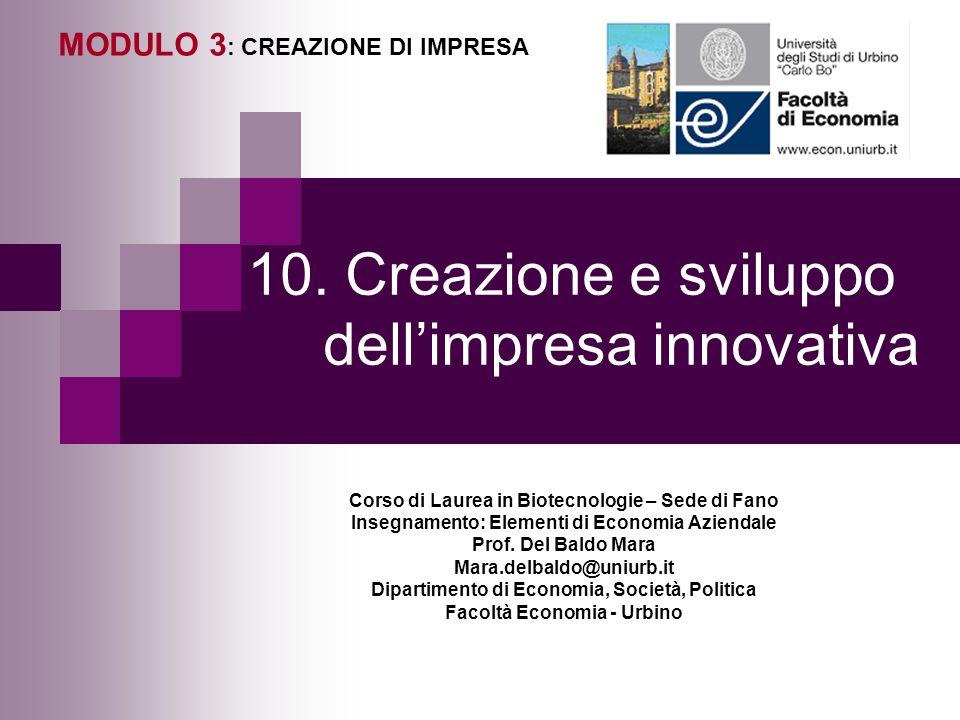 10. Creazione e sviluppo dellimpresa innovativa MODULO 3 : CREAZIONE DI IMPRESA Corso di Laurea in Biotecnologie – Sede di Fano Insegnamento: Elementi