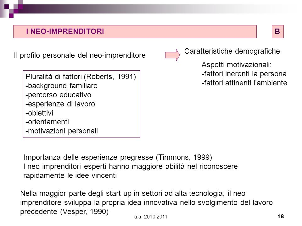 a.a. 2010 201118 B) I NEO-IMPRENDITORIB Il profilo personale del neo-imprenditore Caratteristiche demografiche Aspetti motivazionali: -fattori inerent