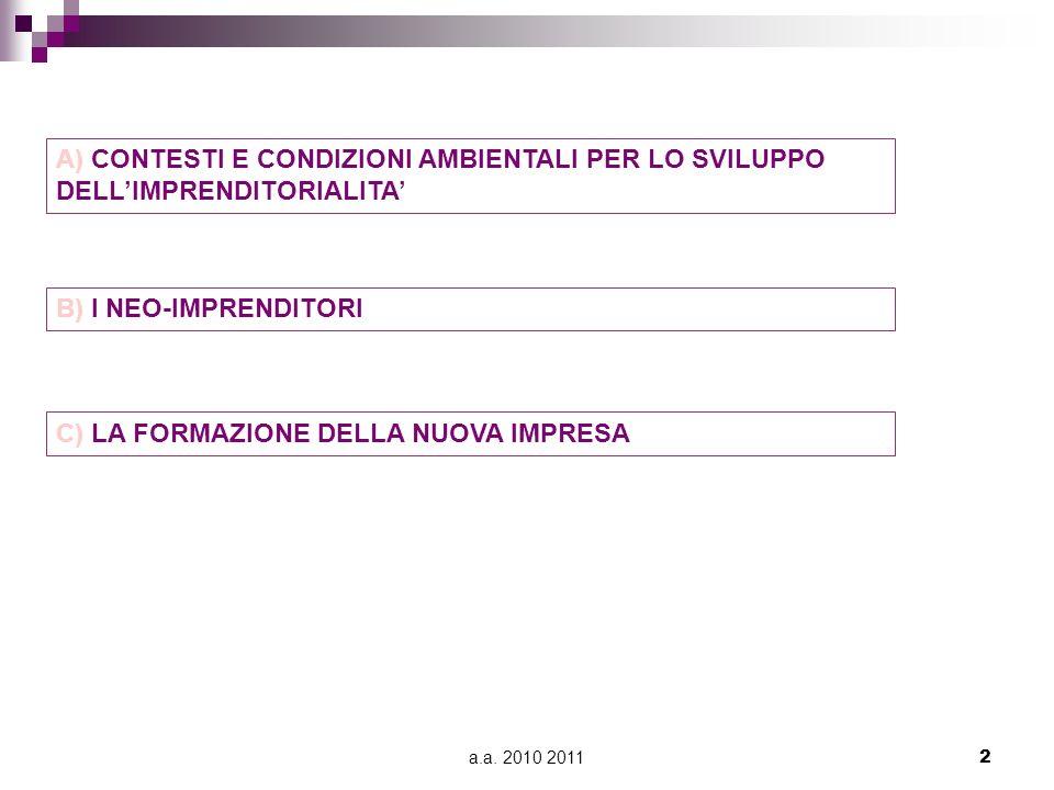 a.a. 2010 20112 A) CONTESTI E CONDIZIONI AMBIENTALI PER LO SVILUPPO DELLIMPRENDITORIALITA B) I NEO-IMPRENDITORI C) LA FORMAZIONE DELLA NUOVA IMPRESA