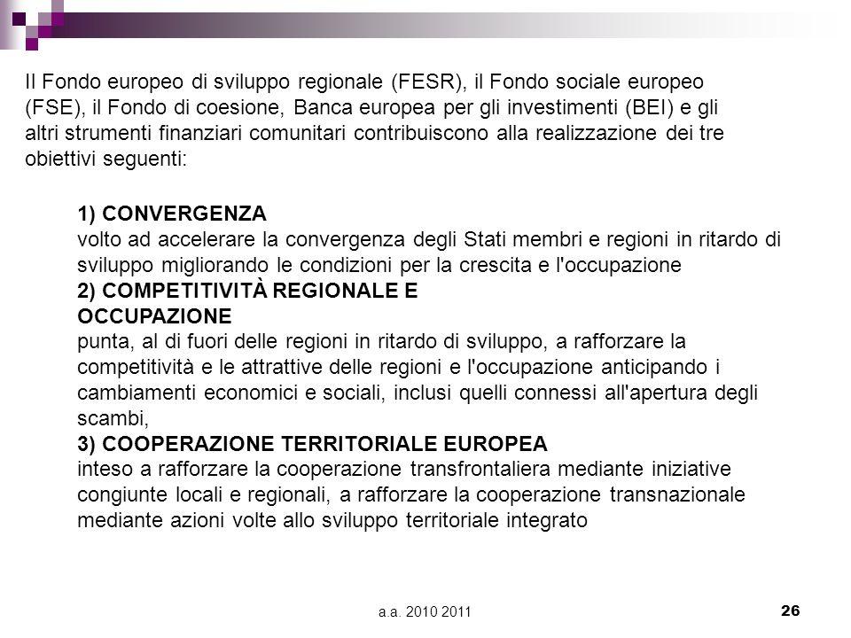 a.a. 2010 201126 Il Fondo europeo di sviluppo regionale (FESR), il Fondo sociale europeo (FSE), il Fondo di coesione, Banca europea per gli investimen