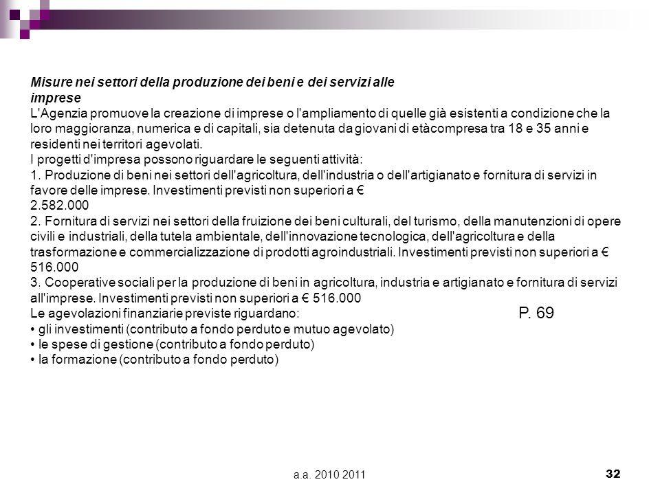 a.a. 2010 201132 Misure nei settori della produzione dei beni e dei servizi alle imprese L'Agenzia promuove la creazione di imprese o l'ampliamento di