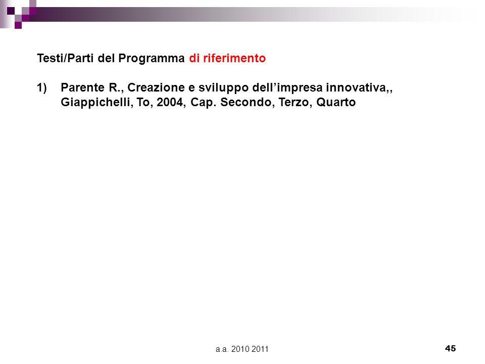a.a. 2010 201145 Testi/Parti del Programma di riferimento 1)Parente R., Creazione e sviluppo dellimpresa innovativa,, Giappichelli, To, 2004, Cap. Sec