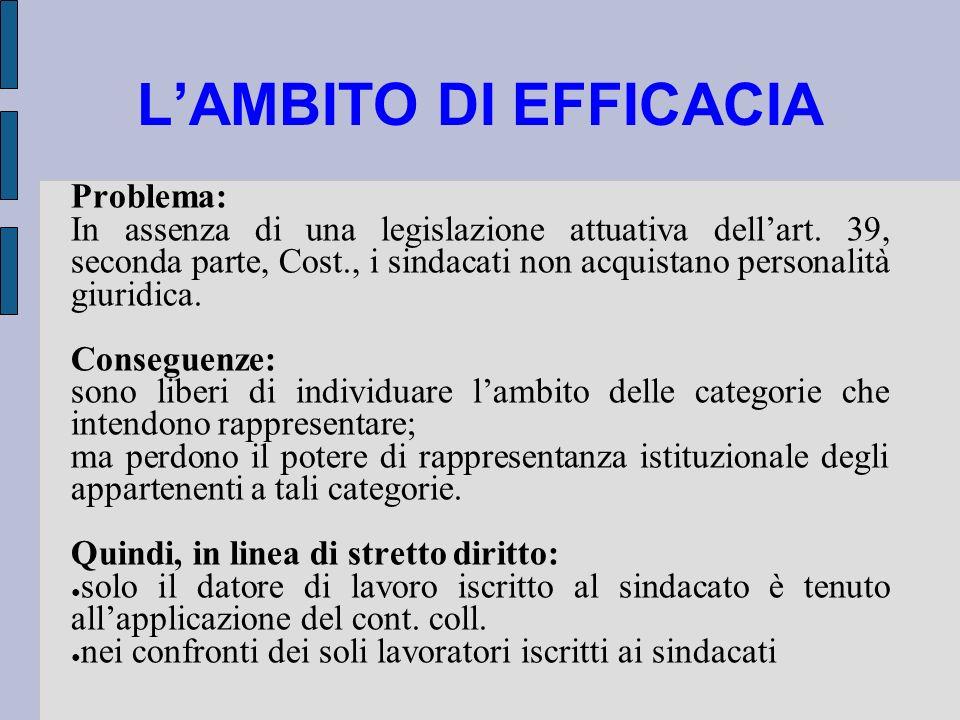 LAMBITO DI EFFICACIA Problema: In assenza di una legislazione attuativa dellart. 39, seconda parte, Cost., i sindacati non acquistano personalità giur