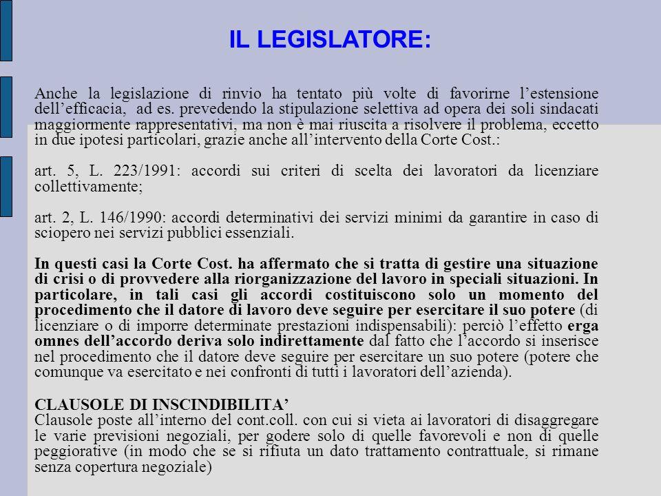 IL LEGISLATORE: Anche la legislazione di rinvio ha tentato più volte di favorirne lestensione dellefficacia, ad es. prevedendo la stipulazione seletti