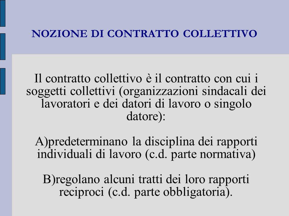 NOZIONE DI CONTRATTO COLLETTIVO Il contratto collettivo è il contratto con cui i soggetti collettivi (organizzazioni sindacali dei lavoratori e dei da