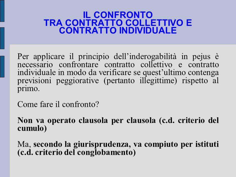 IL CONFRONTO TRA CONTRATTO COLLETTIVO E CONTRATTO INDIVIDUALE Per applicare il principio dellinderogabilità in pejus è necessario confrontare contratt