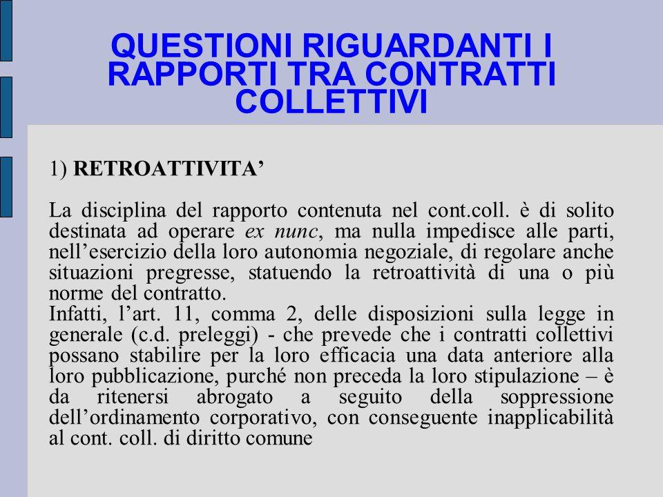 QUESTIONI RIGUARDANTI I RAPPORTI TRA CONTRATTI COLLETTIVI 1) RETROATTIVITA La disciplina del rapporto contenuta nel cont.coll. è di solito destinata a