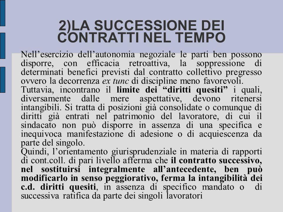 2)LA SUCCESSIONE DEI CONTRATTI NEL TEMPO Nellesercizio dellautonomia negoziale le parti ben possono disporre, con efficacia retroattiva, la soppressio